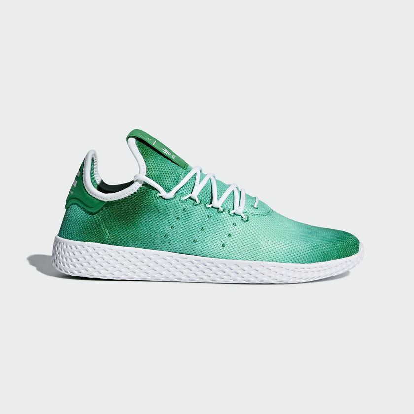 {DA9619} MEN'S ADIDAS ORIGINALS PHARRELL WILLIAMS TENNIS HU SHOES GREEN WHITEN