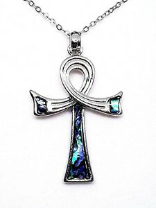 Ankh-Abalone-Shell-Pendant-Egyptian-Life-Chain-Gift-Boxed-Necklace