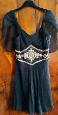 Temperley London Jewellery Beaded Black Silk Chiffon Mini Dress size UK10 RRP400