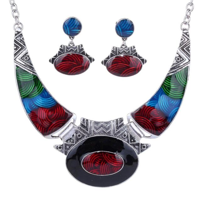 Retro Special Color Oval Gangle Sliver Plated Earrings Necklace Set Women Gift