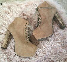 JEFFREY CAMPBELL Lita brown taupe suede lace up platform boots us 8.5