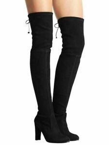 Stuart-Weitzman-Highland-Black-Suede-Over-the-Knee-Boots-Women-039-s-Size-7-5