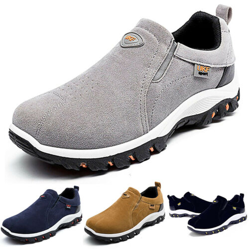 Mens Suede Slip On Sports Outdoor Sneakers Running Hiking Trainers Shoes Size