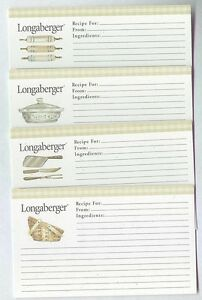 24 Deluxe Longaberger Green Check 3 x 5 Recipe Cards 6 of each style