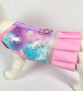 Unicorn-Dog-Harness-Vest-Dress-With-Ruffle-Skirt