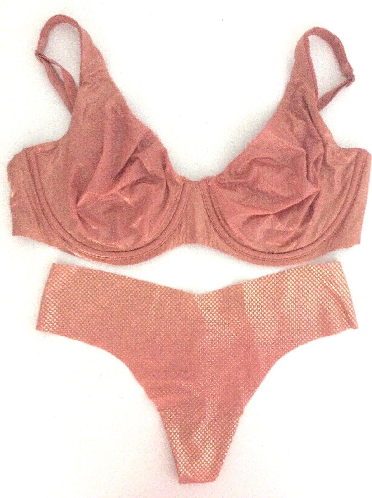NEW Victoria's Secret Body By Victoria Unlined Plunge Shine Bra Panty Set 38DD L