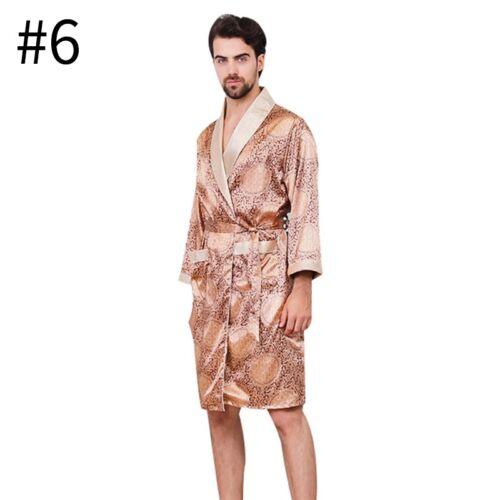 Men/'s Robe Soft Bathrobe Sleepwear Long Sleeve Nightwear Kimono Pajamas Summer