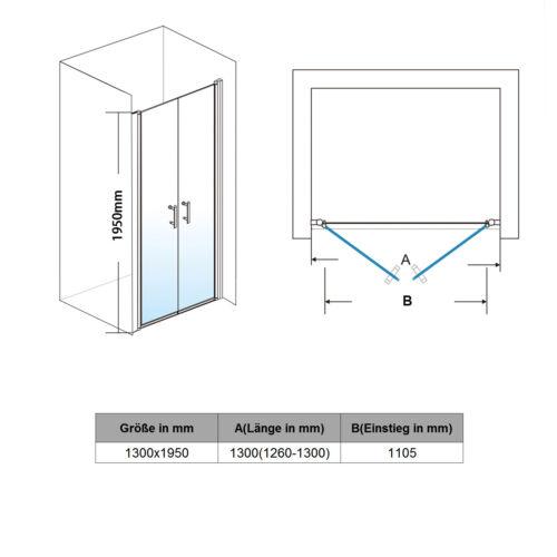 Duschabtrennung Duschkabine Pendeltür Schwingtür Duschtür Dusche 195cm Duschwand