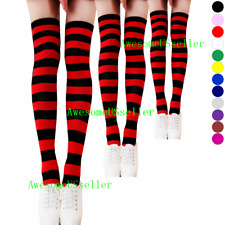 0b323943bad3 3 Women's Striped Thigh High Socks Sheer Over The Knee Plus Size Stockings  USA