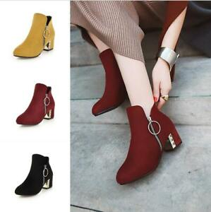 Details about  /Women/'s Ankle Boots Office OL Low Heel Chelsea Booties Zip Up Square Toe Shoes D