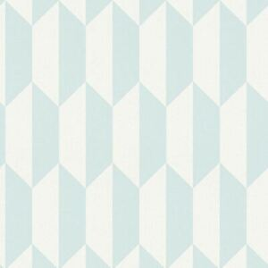 3D-Effect-Geometric-Rhombus-Wallpaper-Teal-White-Vinyl-Paste-Wall-AS-Creation