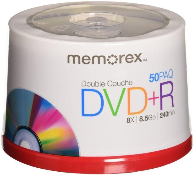 Memorex Dual Layer DVD+R 50-pack - 8X, 8.5GB, 240 mins