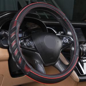 Couvre-volant-de-voiture-universel-en-faux-cuir-rouge-antiderapant-37-39-cm