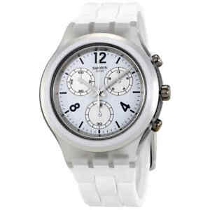 Swatch-Elesilver-Chronograph-Quartz-White-Dial-Men-039-s-Watch-SVCK1007
