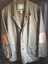 ORVIS men's canvas blazer jacket w/ leather trim, size 46 XL XXL elbow patches