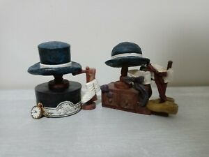 Rare!! Vintage 1997 Young's Collectible Clay Blue Hat Sculptures Lot of 2