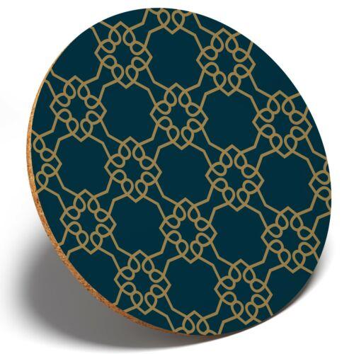 Round Coaster Kitchen Student Kids Gift #2454 1 x Green Art Deco Geometric Fun