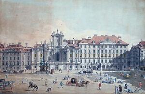 Kupferstich-Wien-1780-Hofkriegskanzley-u-Garnisonskirche-am-Hof-7290