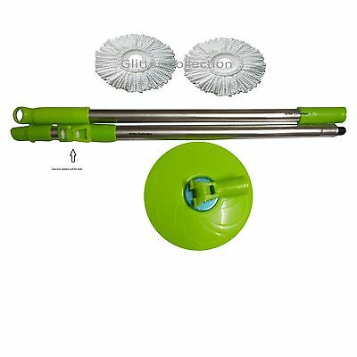Winberg (R)360 degree Magic Mop rotating Rod steel rod with 2 Refill combo Green
