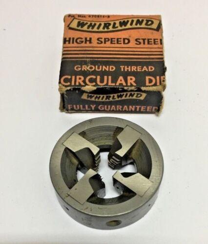WHIRLWIND 3//8 16 NC HSS GROUND THREAD CIRCULAR DIE HIGH SPEED STEEL