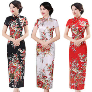 BG-Chinese-Flower-Print-Stand-Collar-Short-Sleeve-Women-Slit-Cheongsam-Dress-Si