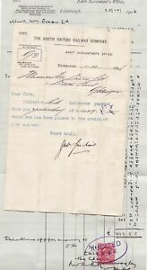 THE NORTH BRITISH RAILWAY COMPANY,1906 Stamp Invoice & Payment Receipt Ref 49139