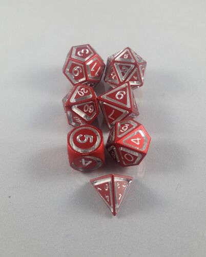 Floating Face Polyhedral 7Die Set Red Gaming Dice