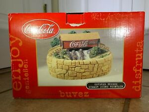 Coca Cola Brand Covered Bridge Summer Scene Fountain Light Up In Box Brand New