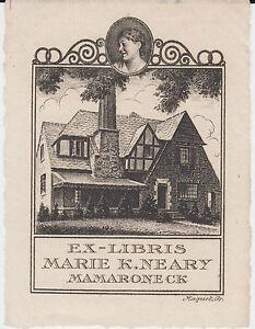 EX-LIBRIS-MARIE-K-NEARY-MAMARONECK-ETATS-UNIS-grave-par-Maquet-Paris