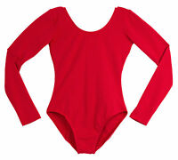 Long Sleeve Leotard Cotton Red Adult Dance Plus Sizes 1x, 2x, 3x Made In Usa