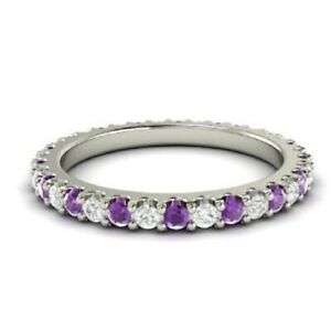 14K-Real-White-Gold-Diamond-Ring-0-72-Ct-Natural-Amethyst-Gemstone-Eternity-Band