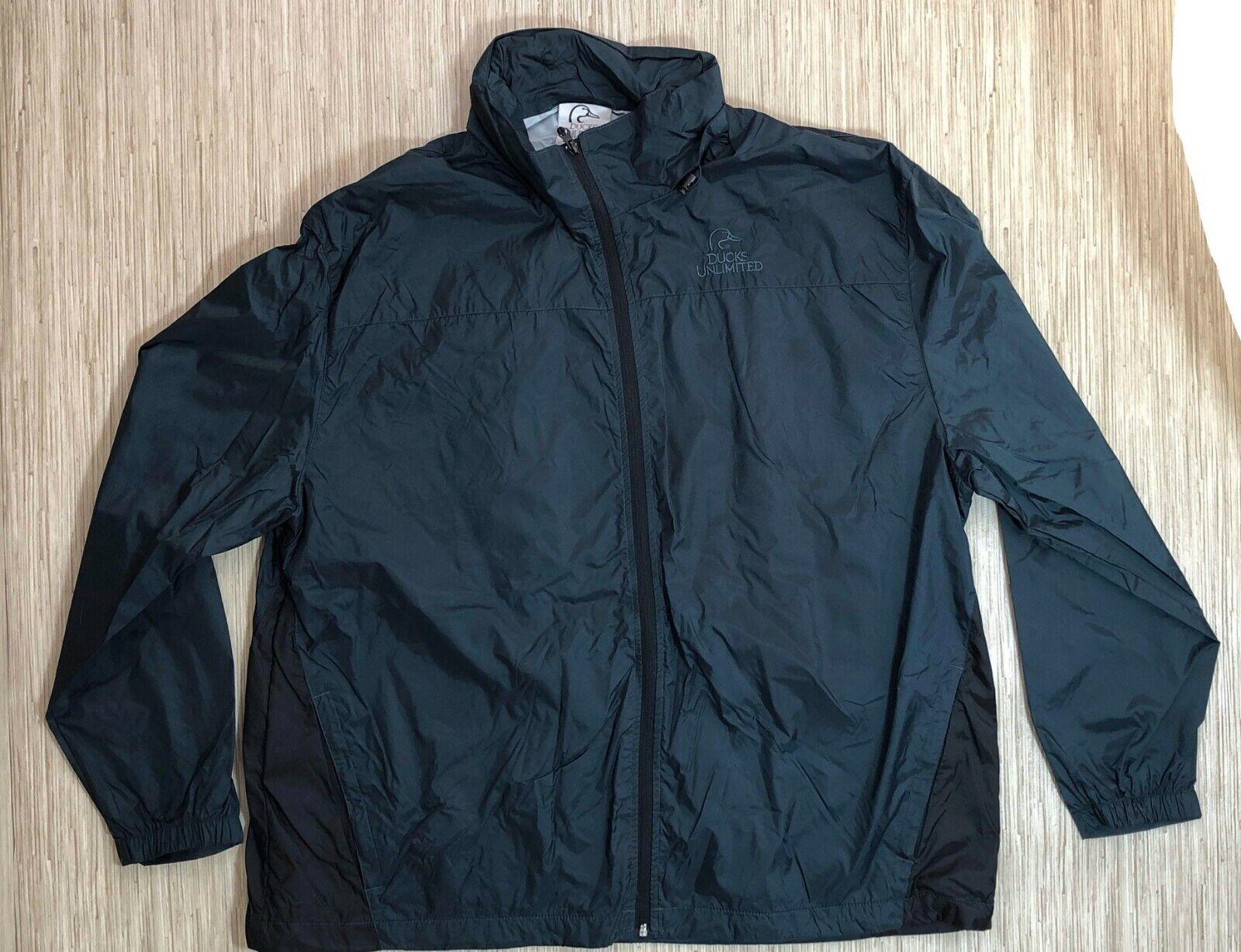 Duck's Unlimited Green 100% Nylon Windbreaker Men XXL Rain Jacket Stowaway Hood