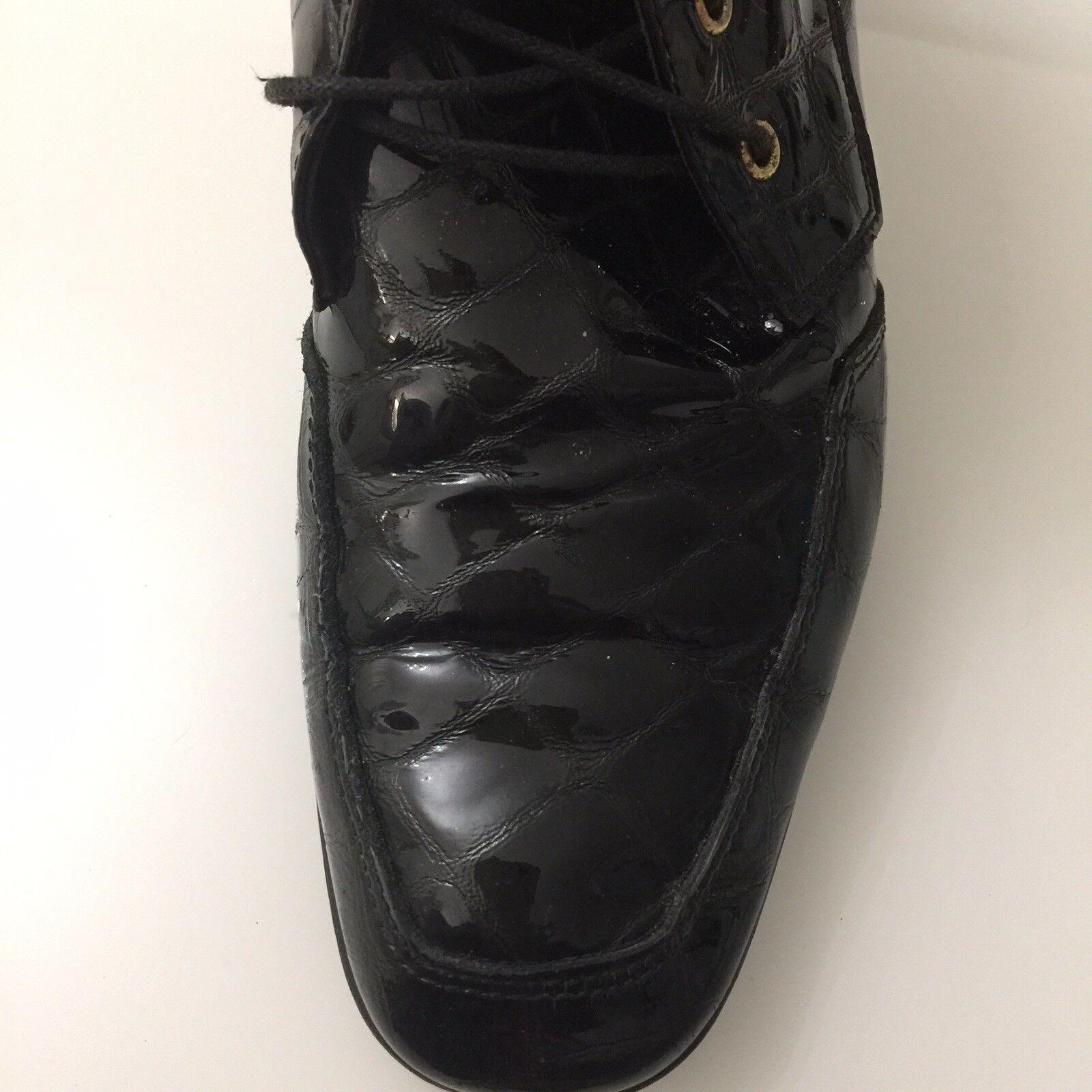 Bottines Bottines Bottines Femmes Taille 5.5 noir cuir verni TRICKERS lacets Boucle Sangle Très bon état e886a5