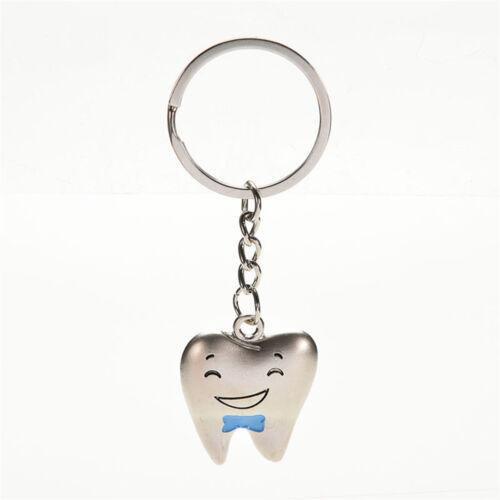 1 Pair Cartoon Teeth Keychain Dentist Key Ring Stainless Steel Tooth Model Hot