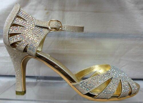 Partido señoras Peep Toe Correa De Tobillo Sandalias brillantes plata oro negro 3-8 E00-139