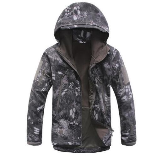 Men SoftShell SharkSkin Windproof Waterproof Tactical Jacket Hoodie Outdoor Coat