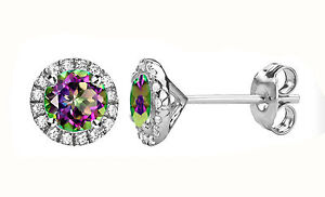 cef9880af Details about 8.5 MM Alexandrite Gemstone Stud Halo Round Sterling Silver  Earrings Push Back