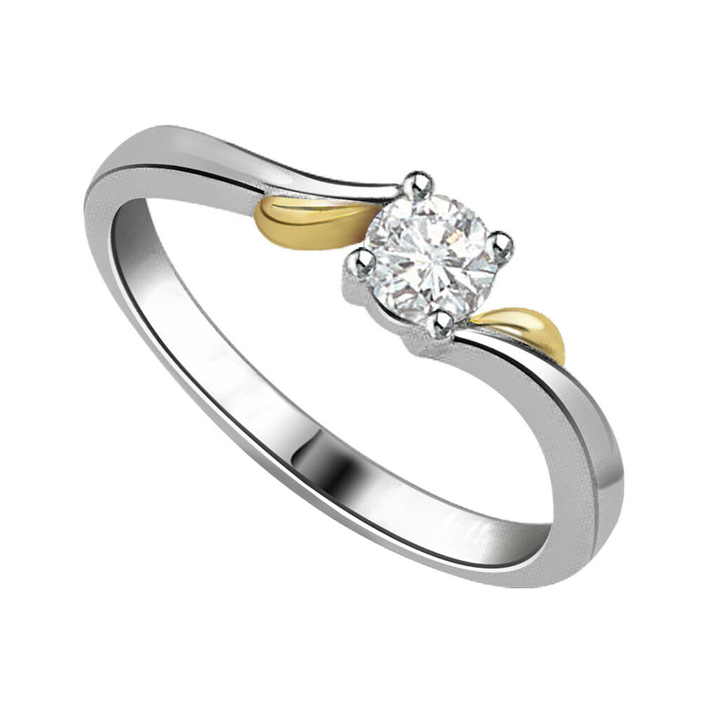 0.38cts Light Brown I1 SDJ Cert 14kt Round Solitaire Diamond Engagement Ring