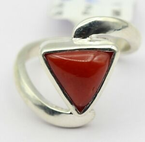 Coral Natural Gemstone 3.60 Ct Triangular Shape in Sterling Silver Size US 5.5