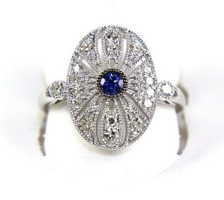 Round bluee Sapphire & Diamond Cluster Ring 14k White gold .57Ct