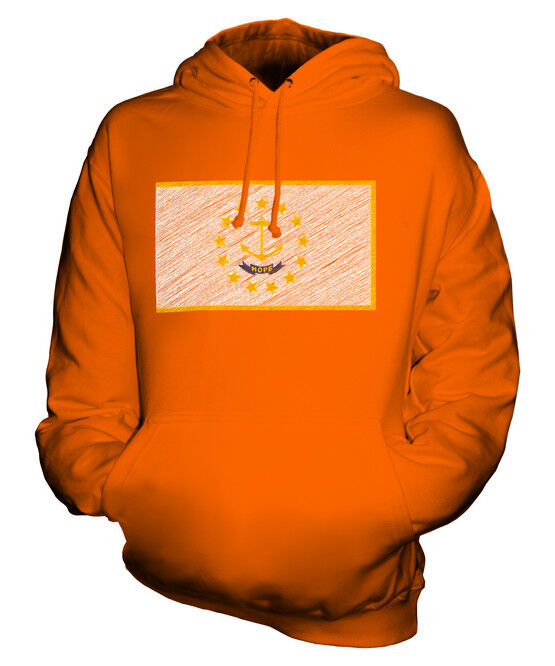 RHODE ISLANDS STATE SCRIBBLE FLAG UNISEX HOODIE TOP GIFT RHODE ISLANDER FOOTBALL