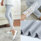 Fashion Women Lace Cotton Skinny High Waist Leggings Stretchy Pencil Pants FN