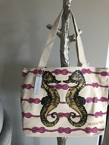 Large-Canvas-tote-Seahorse-Overnight-bag