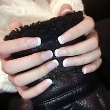 Classic 24x False Nails French Manicure Short Natural Artificial Nails Flat Head