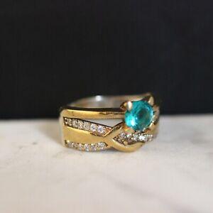 925-Sterling-Silver-Handmade-Authentic-Turkish-Aqua-Marine-Ladies-Ring-Size-9