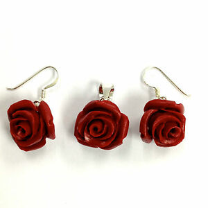 Beautiful red rose flower earrings and pendant set 925 sterling image is loading beautiful red rose flower earrings and pendant set mozeypictures Image collections