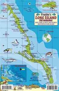 Long Island Bahamas Map & Reef Creatures Guide Waterproof Fish Card ...
