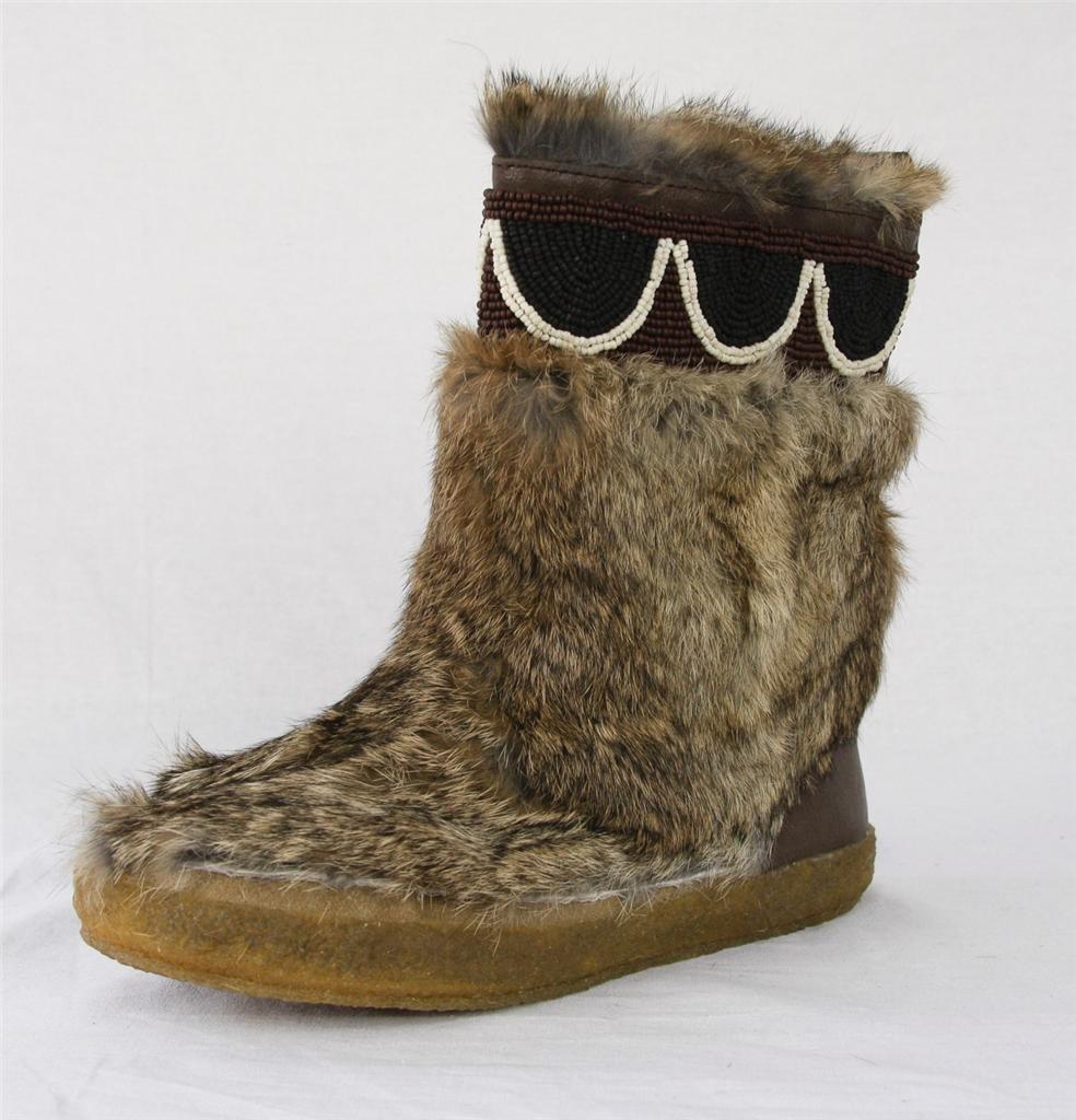 TORY BURCH Damenschuhe HEATHER BROWN/COCONUT BEAD BOOTIE RABBIT FUR Flat Boot 35-5