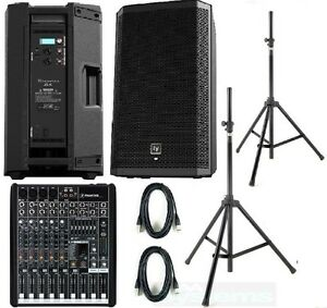 ev zlx12p mackie pro fx8 complete active pa system stands cables electrovoice ebay. Black Bedroom Furniture Sets. Home Design Ideas