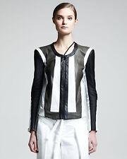 RARE Helmut Lang Pax Color Block Leather & Cotton Jacket - SIZE L (4-6) - $1255